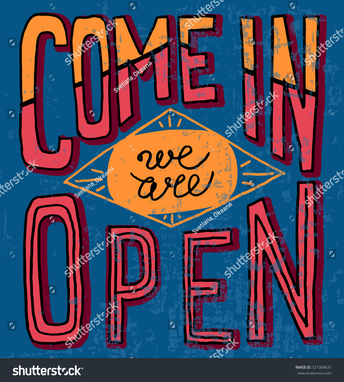 Come We Open Hand Drawn Restaurant Stock Vector (Royalty Free