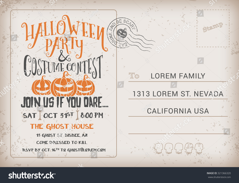 Halloween Party Costume Contest Invitation Template Stock Vector ...