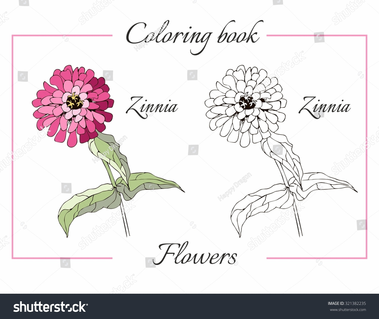 Coloring pages zinnia - Coloring Book With Beautiful Zinnia Flower Cartoon Vector Illustration For Children Education