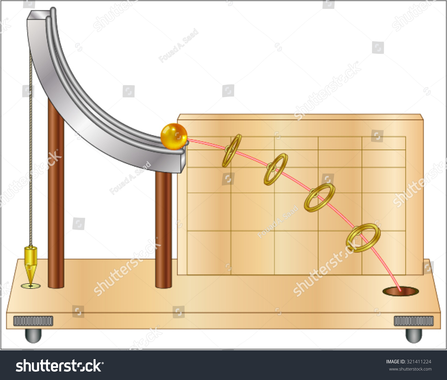 Projectile Motion Velocity Horizontal Stock Vector Catapult Diagram Onager Of A