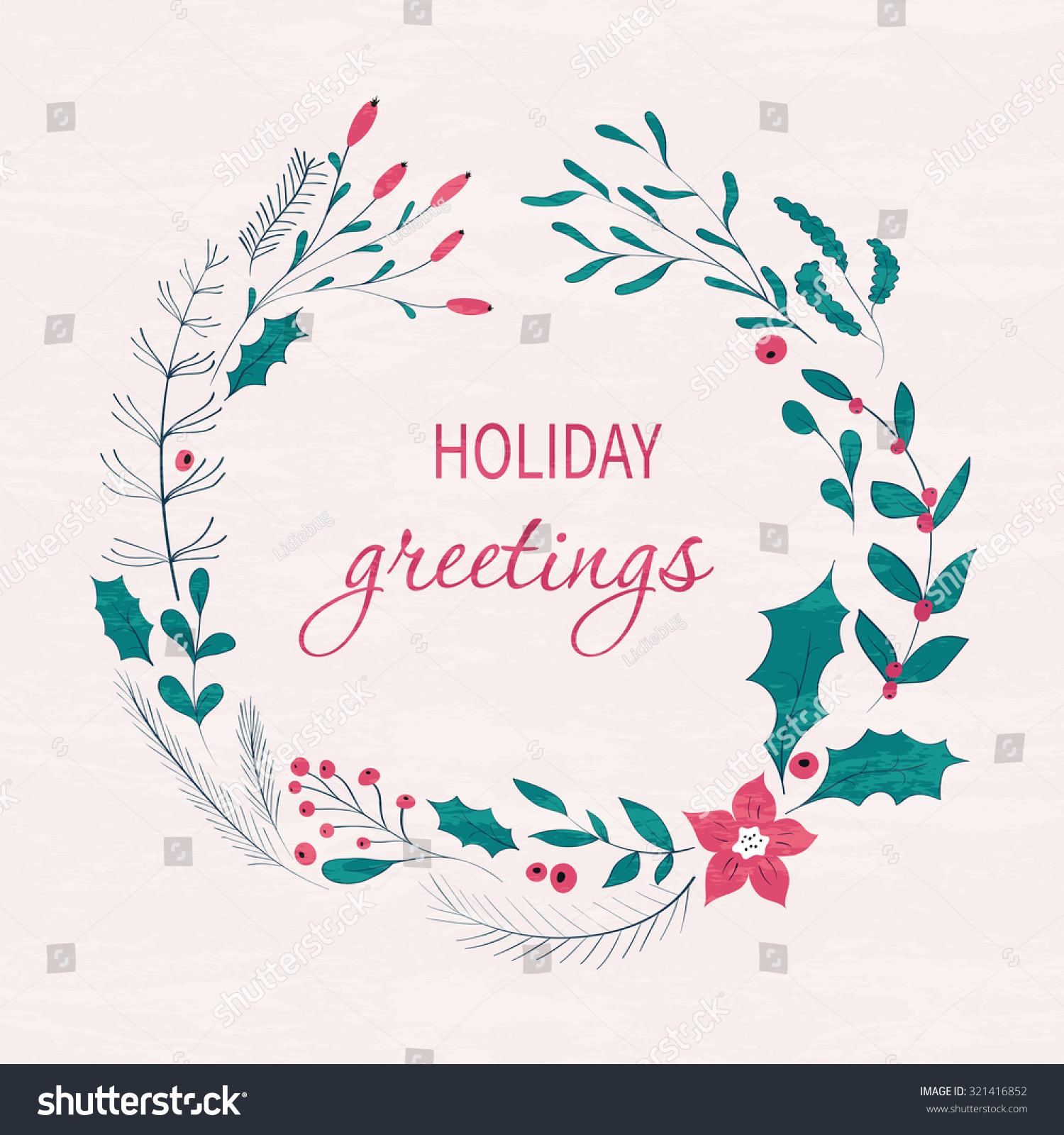 Happy Holidays Greeting Card Winter Wreath With Berries Pine