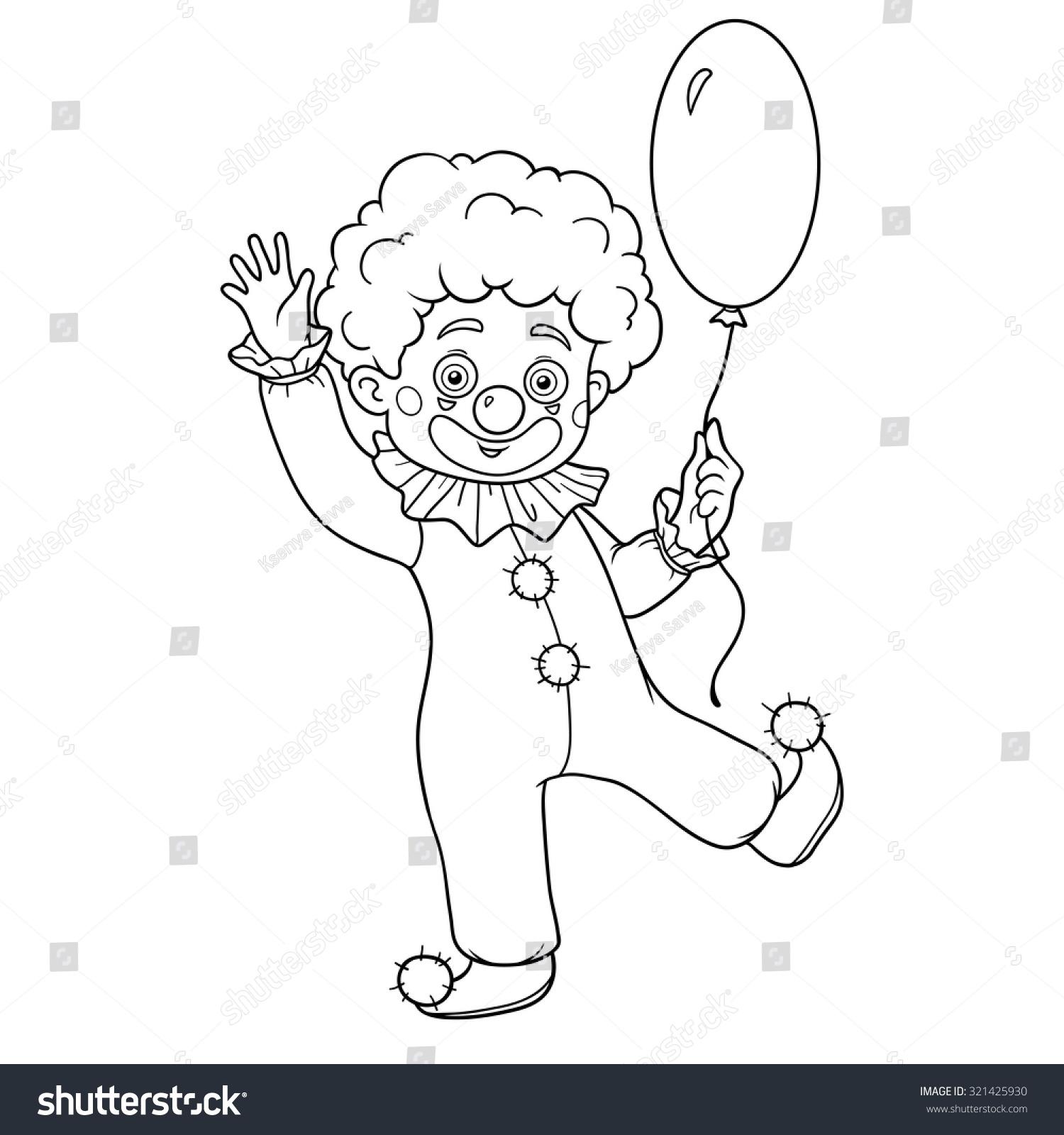 Coloring Book Children Clown Character Balloon Stock Vector ...