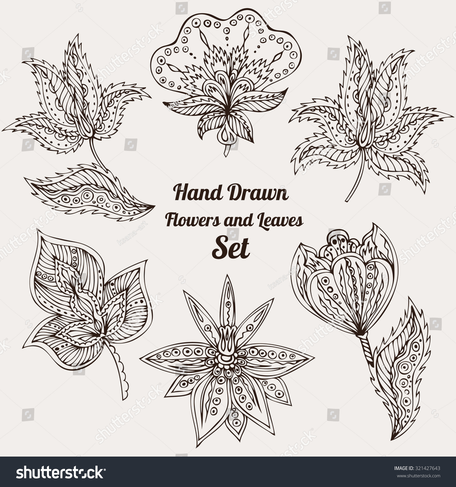 Contour Line Drawing Leaf : Hand drawn flowers leaves set abstract stock vector