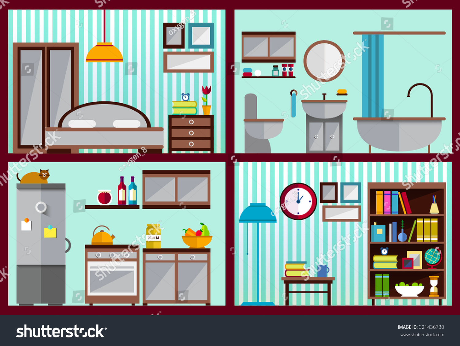 Bedroom Interior Design Set Furniture Vector ~ Furniture set rooms house kitchen living stock vector