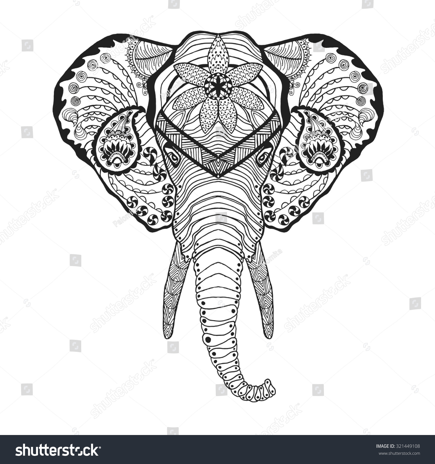 elephant head adult antistress coloring page black white hand drawn doodle animal ethnic - Coloring Page Elephant Design