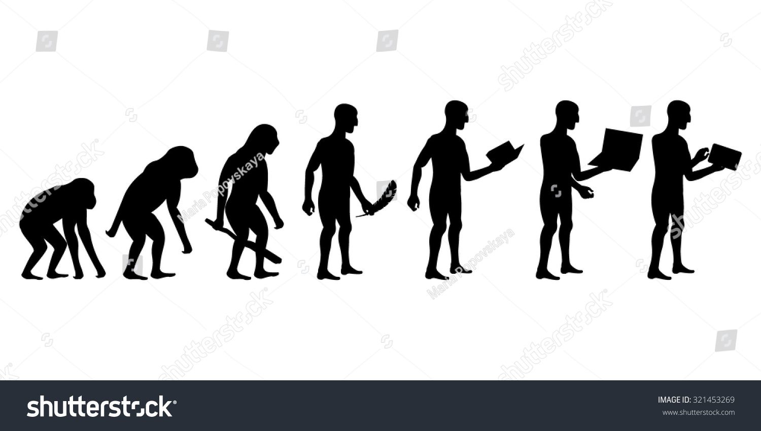 Evolution Man Technology Silhouettes Stock Vector 321453269 ...