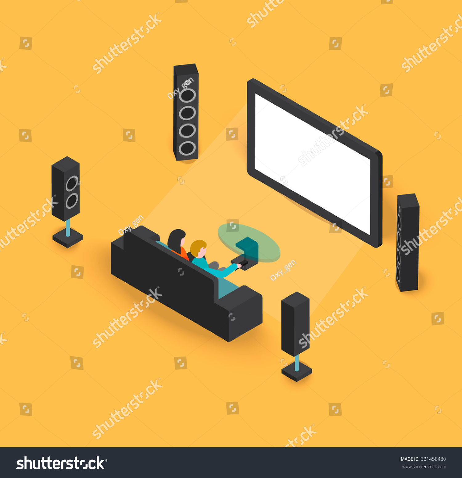Living Room With Tv And People isometric 3d modern living room home stock vector 321458480