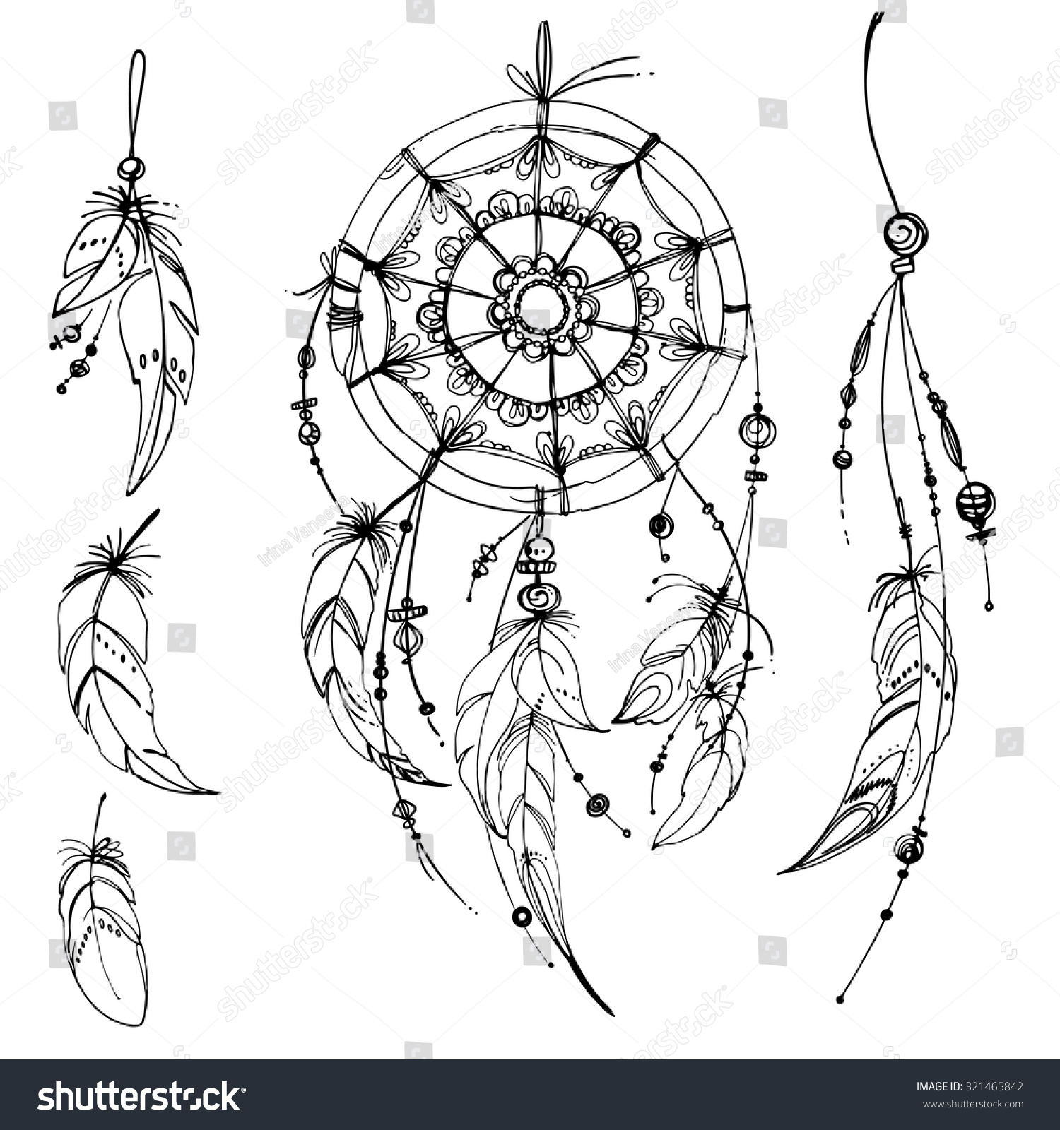 Native american ornaments - Set Of Ornaments Feathers And Beads Native American Indian Dream Catcher Traditional Symbol