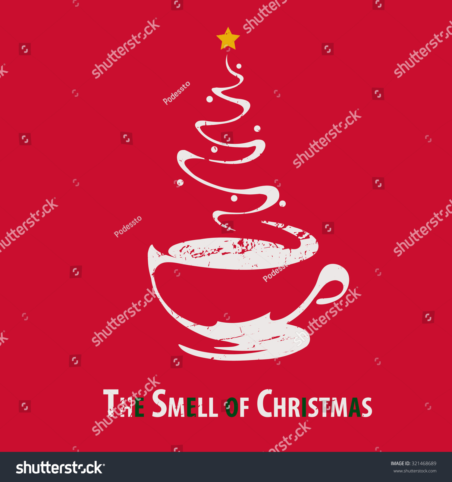 Coffee Christmas Cards.Funny Christmas Cards Smell Christmas Stock Vector Royalty