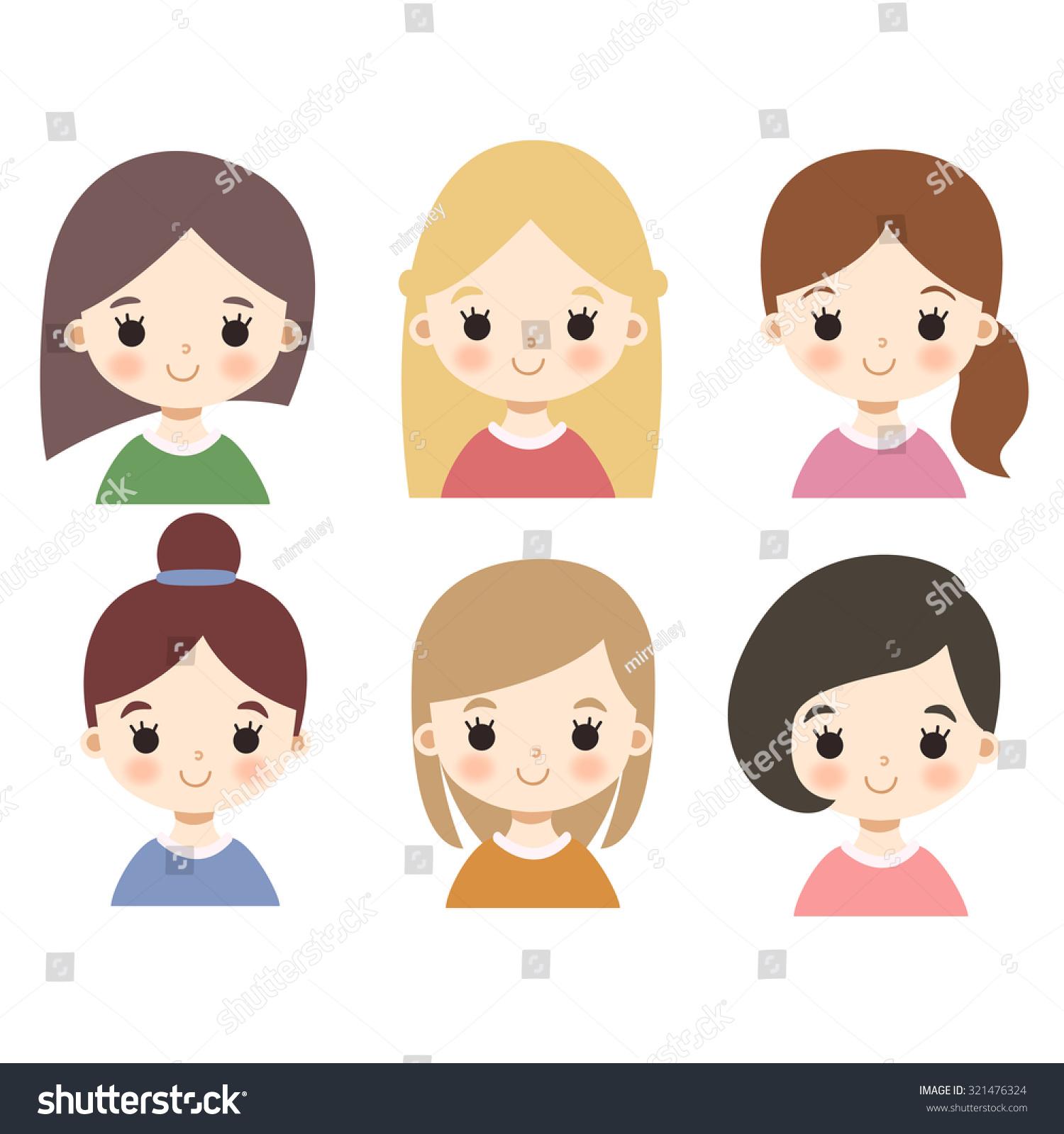 set six cute cartoon girl characters stock vector hd (royalty free