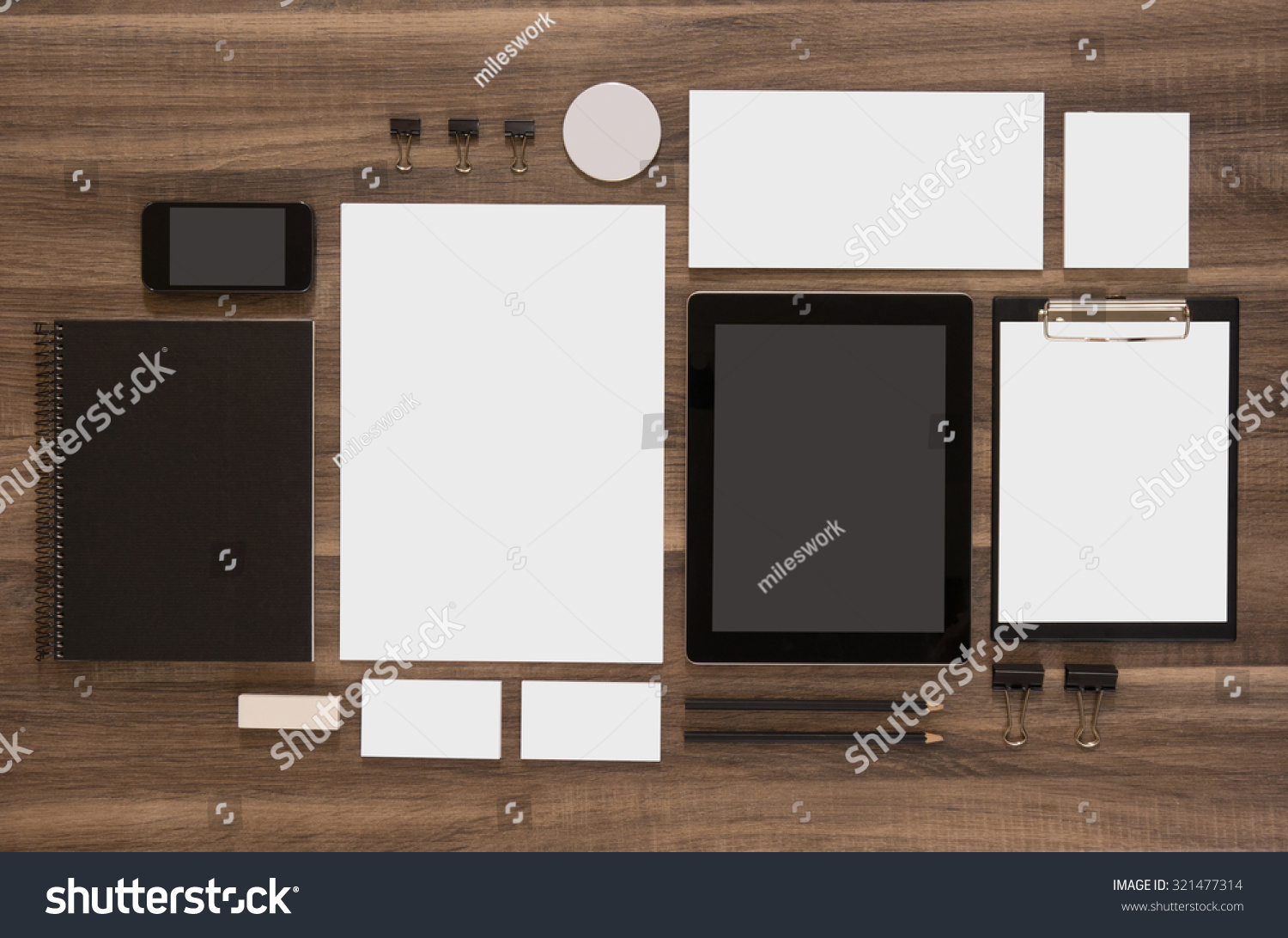 set of mock up business brand template on wooden desk set of