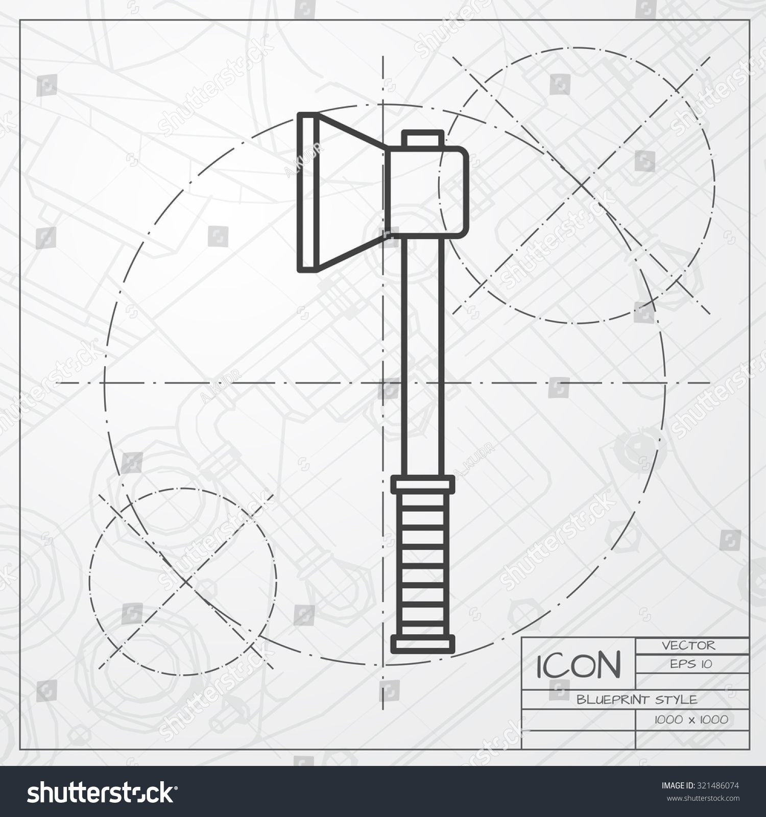 Vector Classic Blueprint Axe Icon On Stock Vector 321486074 ...