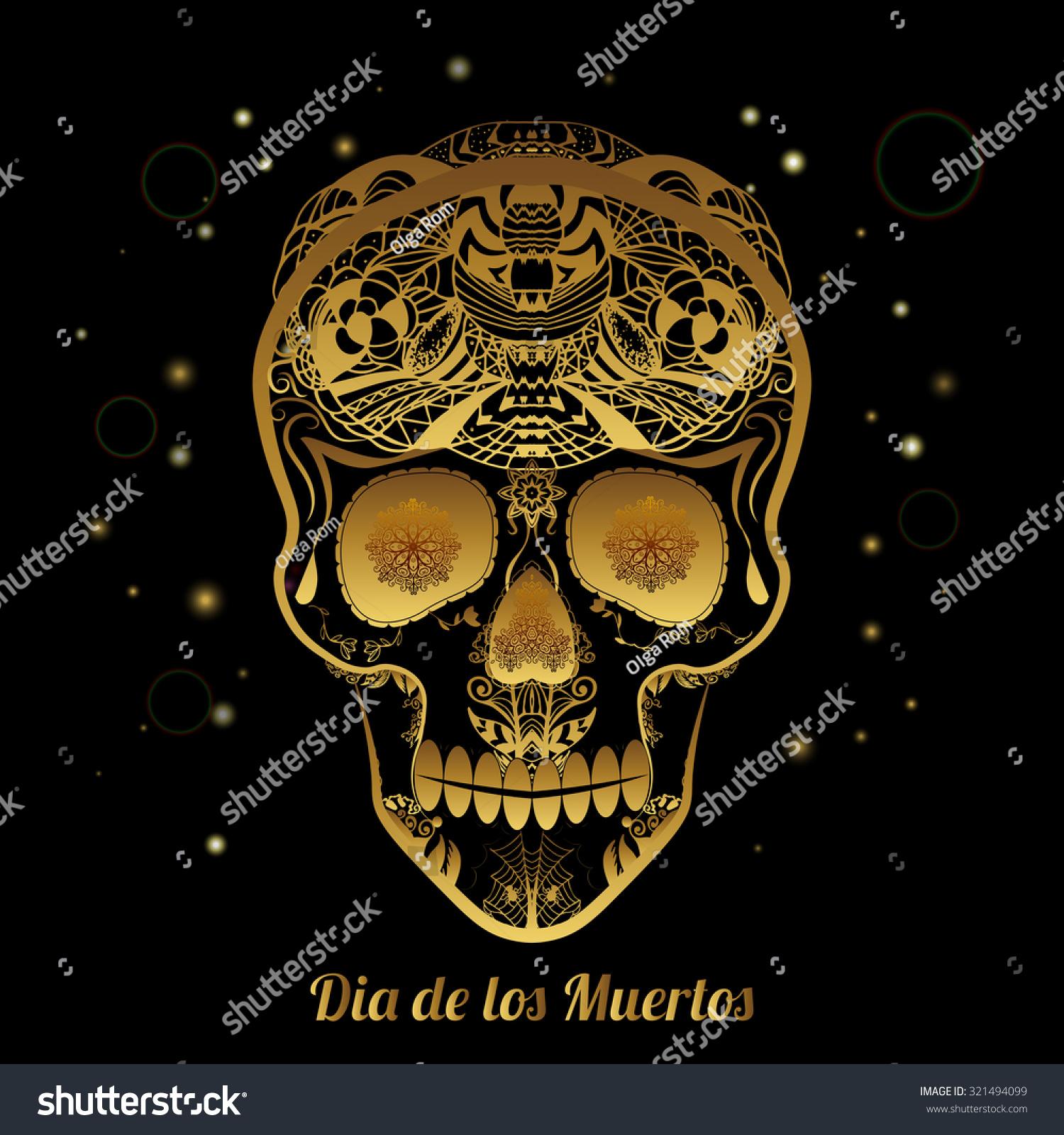 gold ornamental sugar skull dia de stock vector 321494099 shutterstock. Black Bedroom Furniture Sets. Home Design Ideas