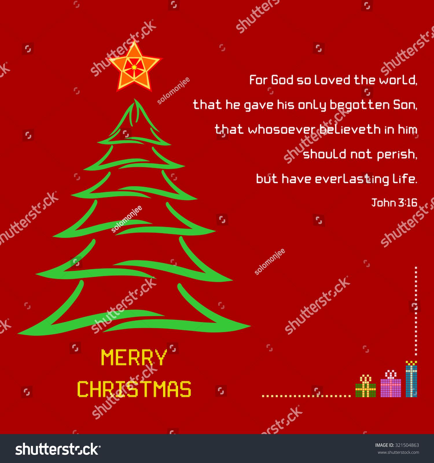 Christmas Holy Bible Verse John 316 Stock Vector Royalty Free
