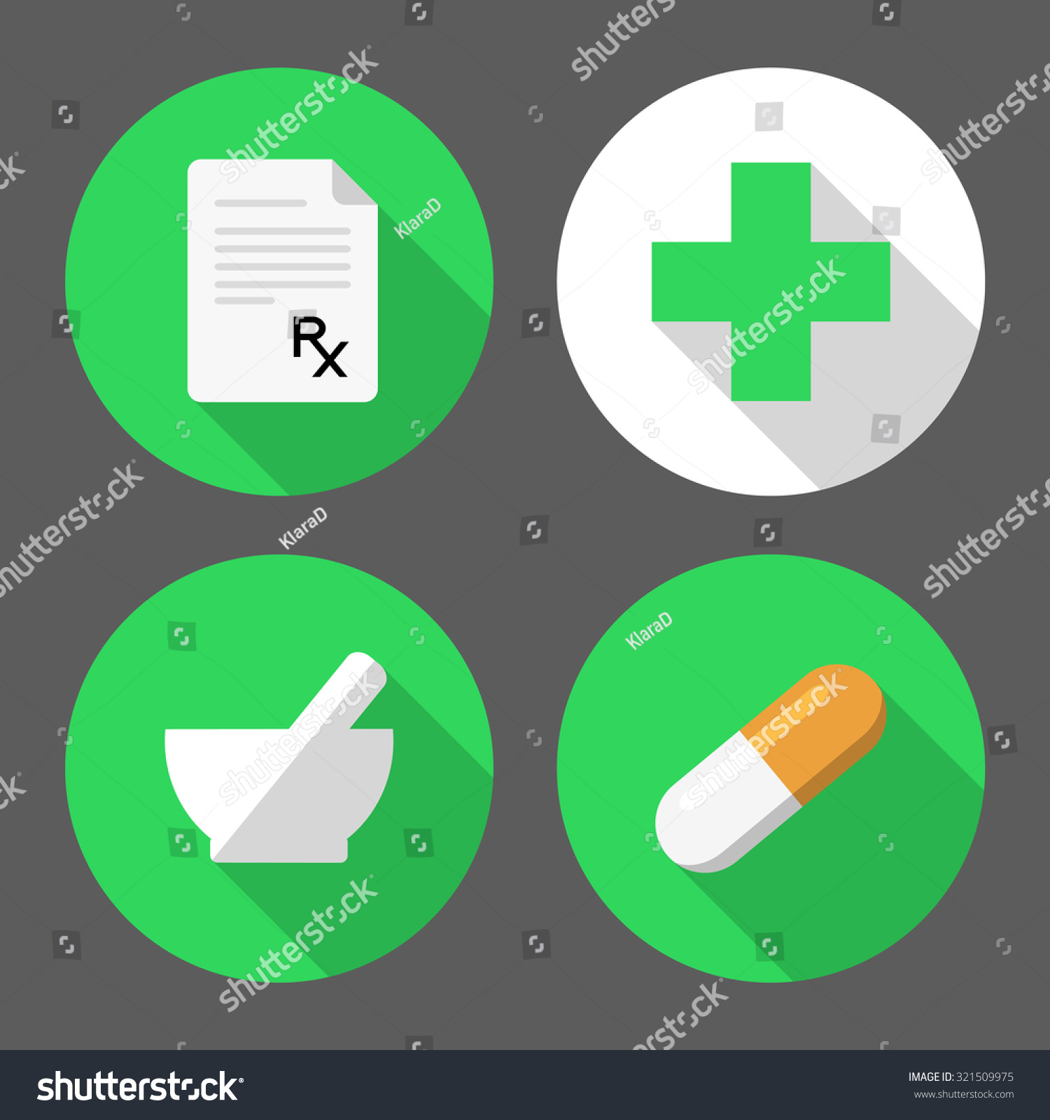 Set Pharmacy Icons Prescription Paper Rx Stock Vector 2018