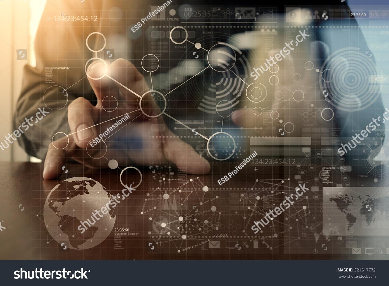 Technology Management Image: Businessman Hand Working Modern Technology Digital Stock