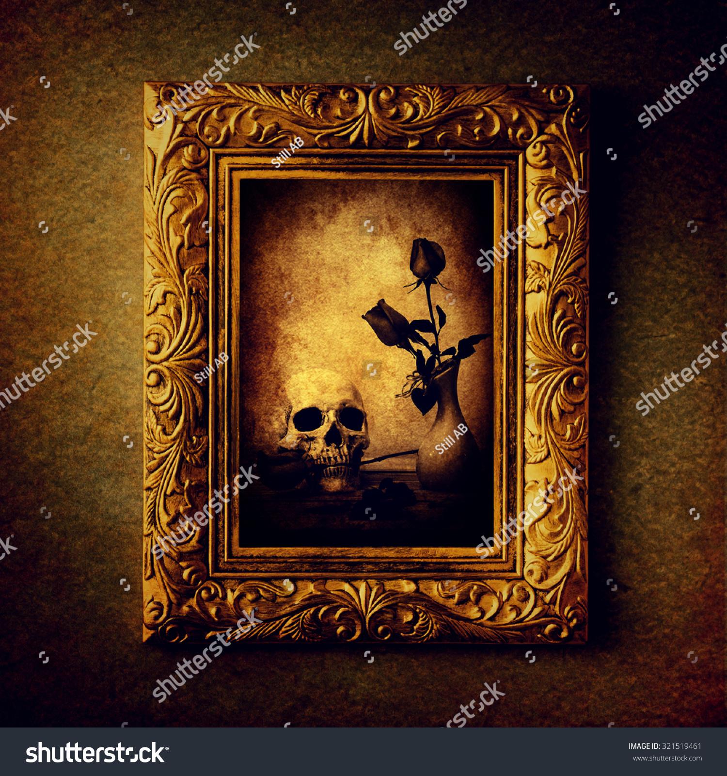 Vintage photo frame, photo of skull with rose over grunge background ...