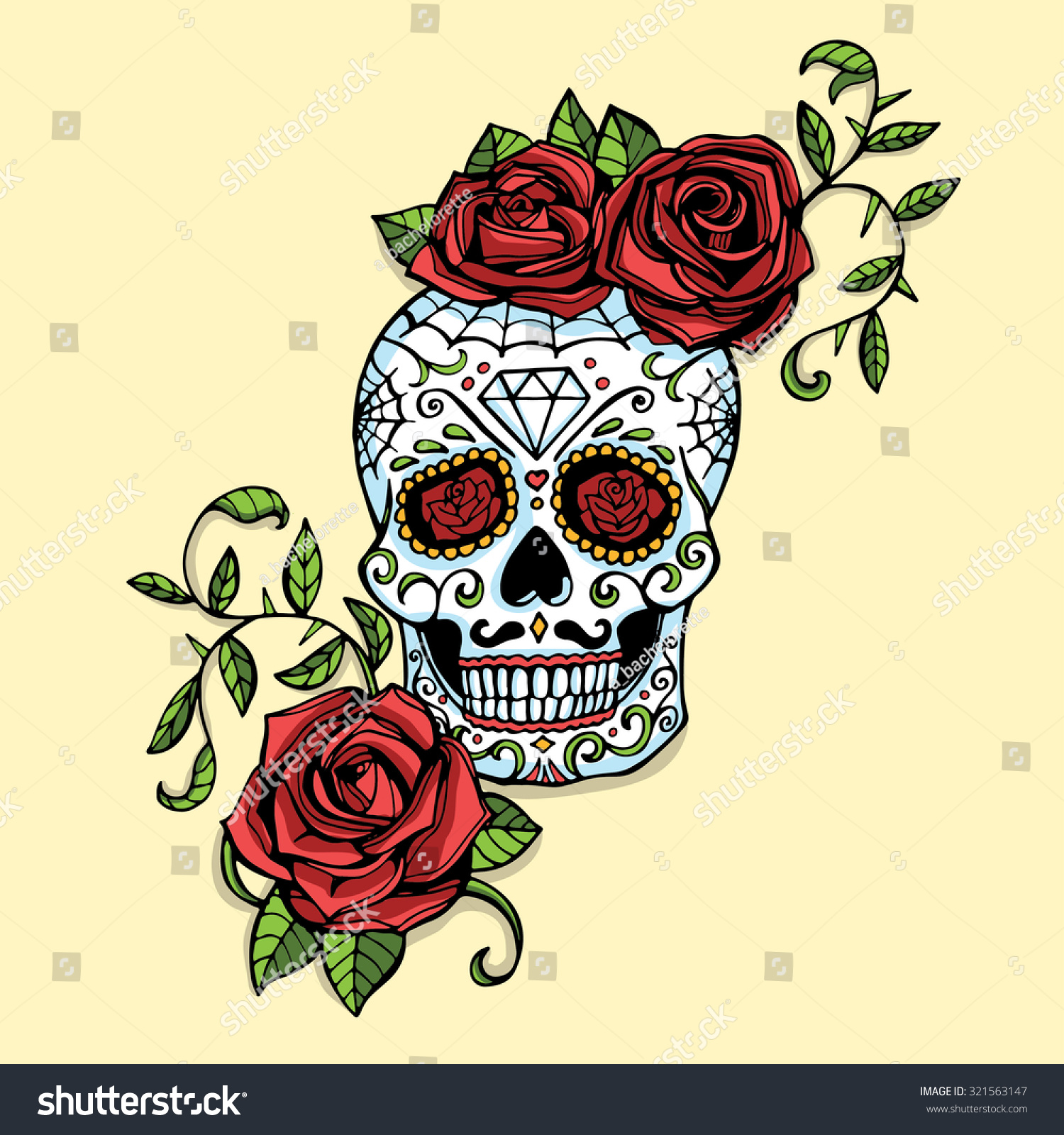 hand drawn day dead mexican sugar stock vector royalty free