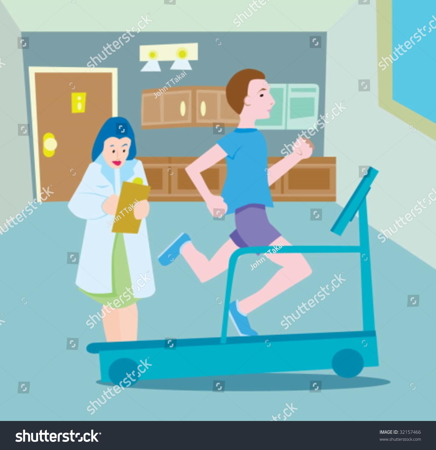 Stress Test Treadmill Time: Treadmill Test Stock Vector Illustration 32157466