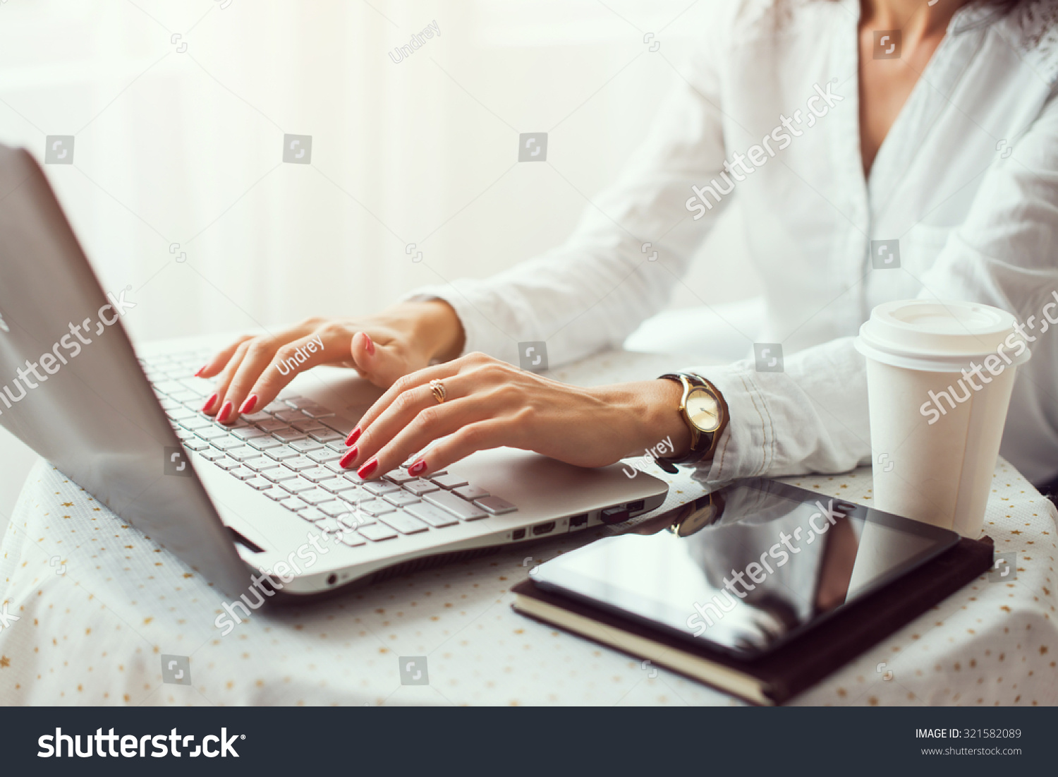 woman working in home office hand on keyboard close up - Working In Home Office