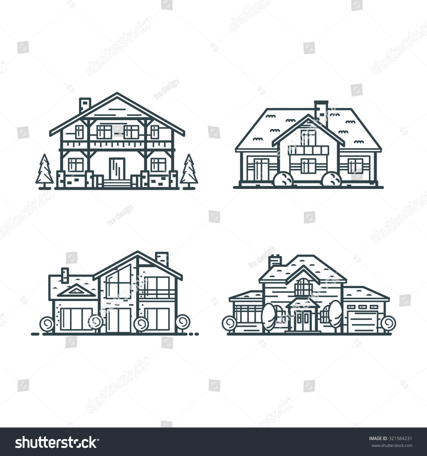 Residential houses icons in minimal thin line style hi for Tech house classics