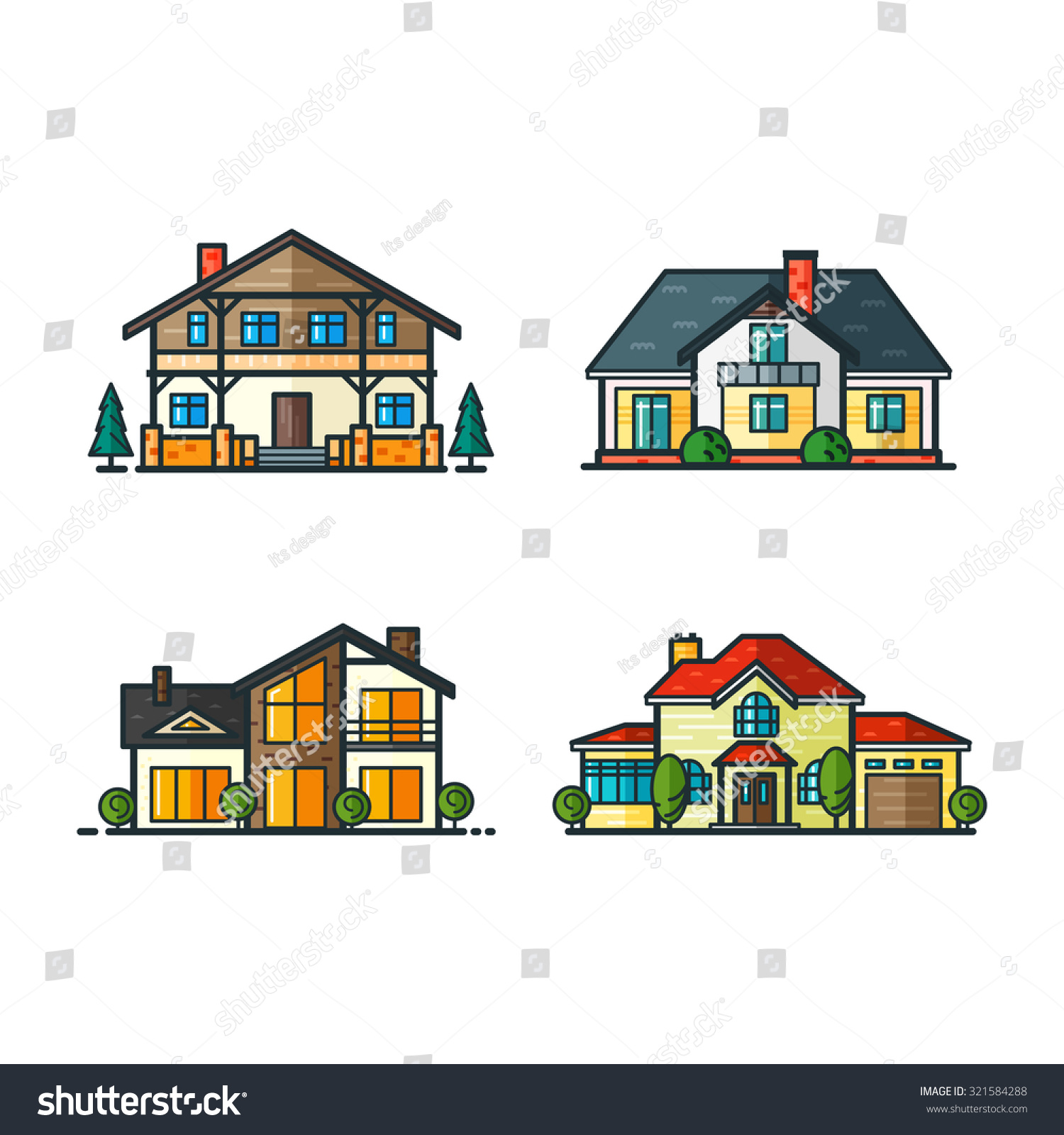 Residential houses icons in trending minimal flat style for Tech house classics
