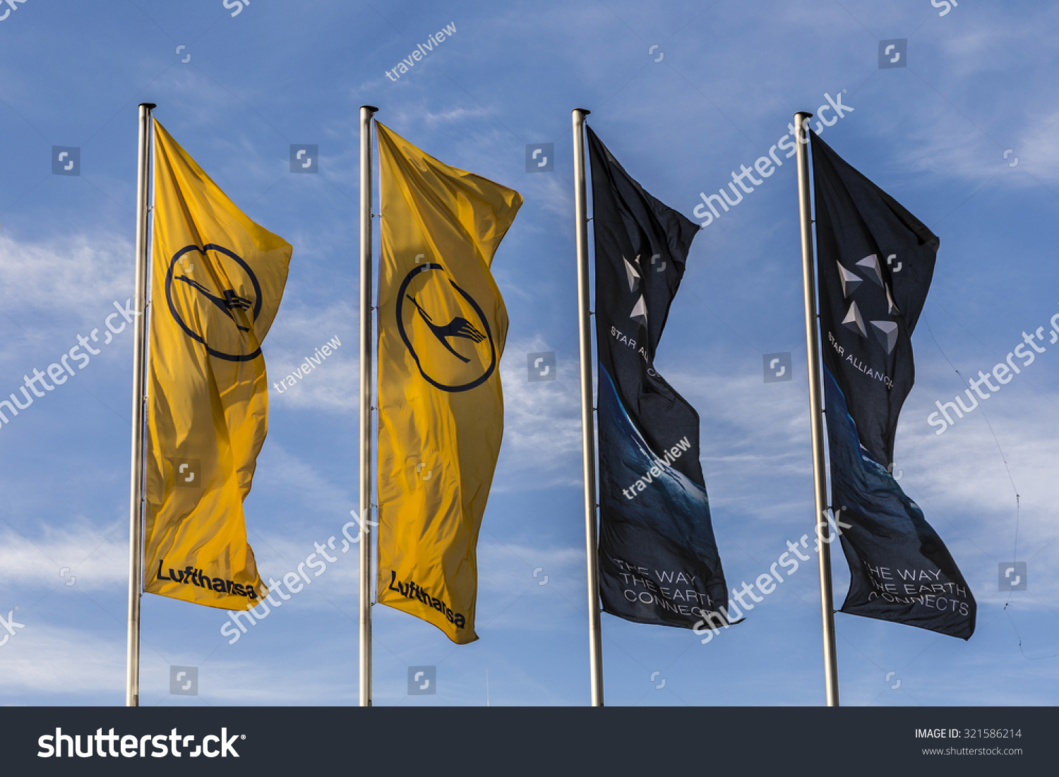 frankfurt germany may 18 2015 lufthansa flag with lufthansa symbol the crane in frankfurt. Black Bedroom Furniture Sets. Home Design Ideas