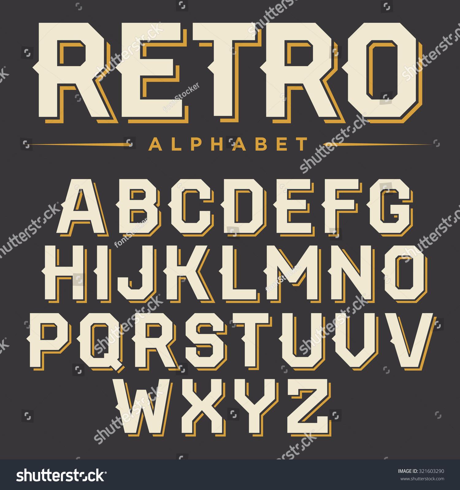 Vector Retro Alphabet Vintage Font Typography Stock Vector 321603290