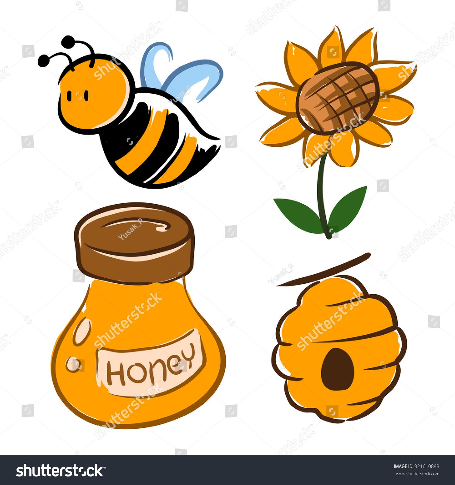 hand drawing bumblebee flower honey jar stock vector 321610883