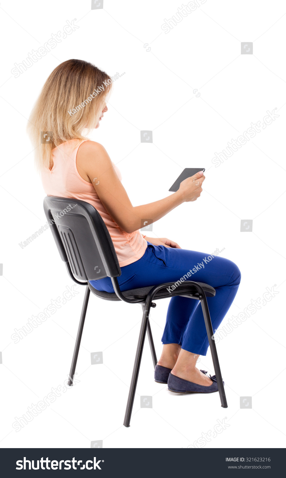 Back View Woman Sitting On Chair Stock Photo 321623216 ...