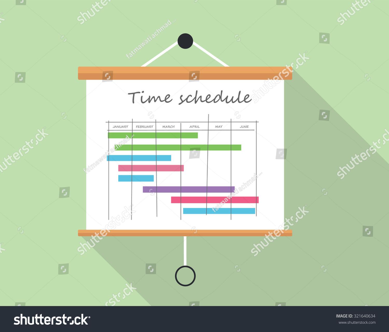 project time schedule presentation board illustration のベクター