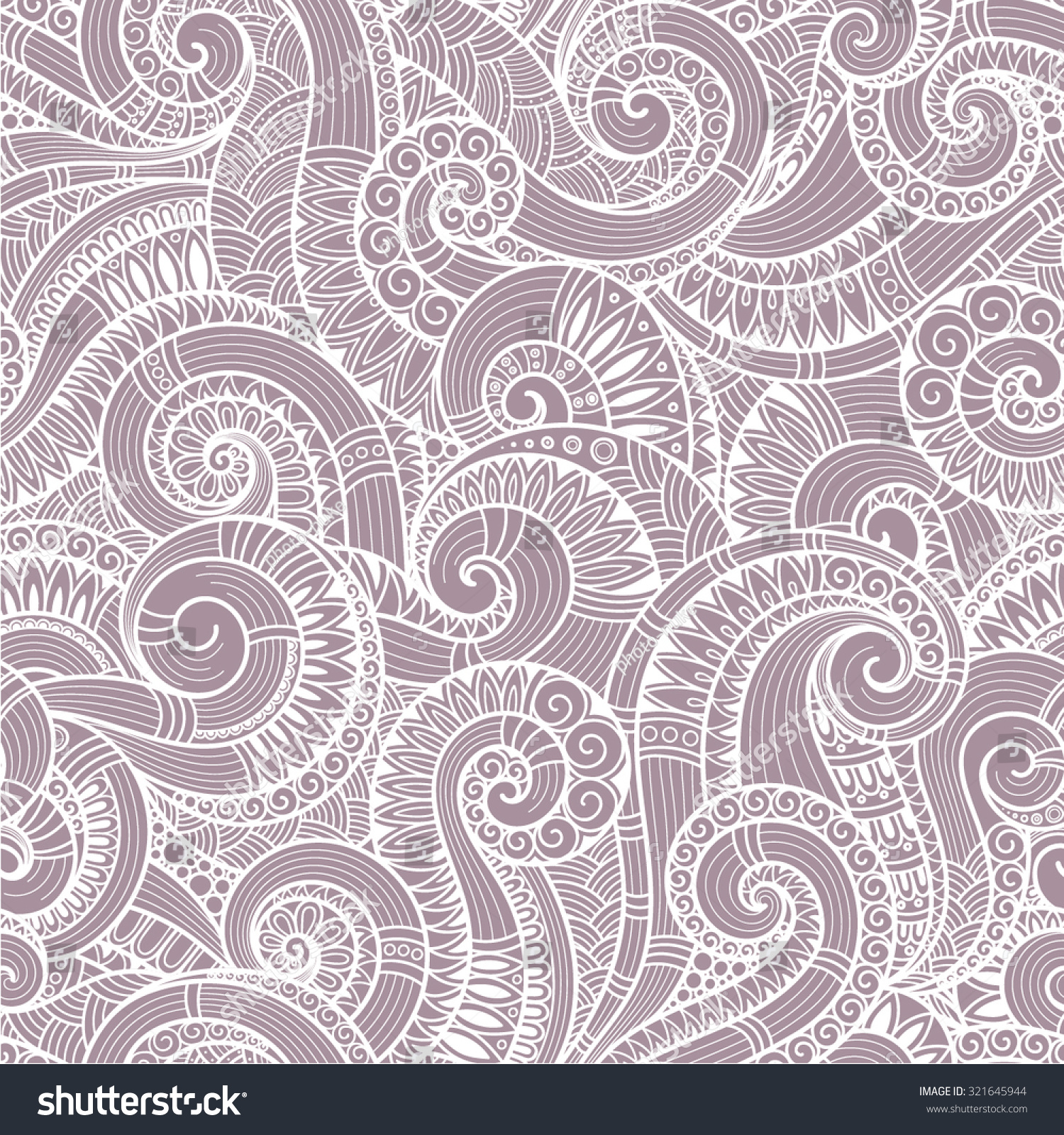 seamless asian ethnic floral retro doodle stock vector 321645944