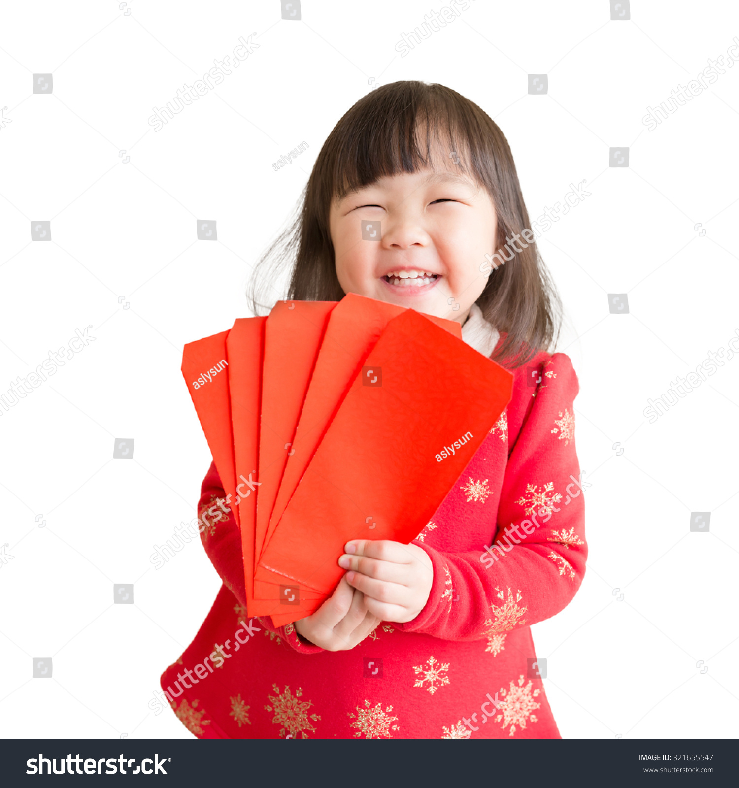 happy chinese new year smile asian girl holding red envelope isolated on white background