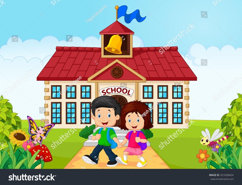 Cartoon Happy Little Kids On School Stock Vector 321658424 ...