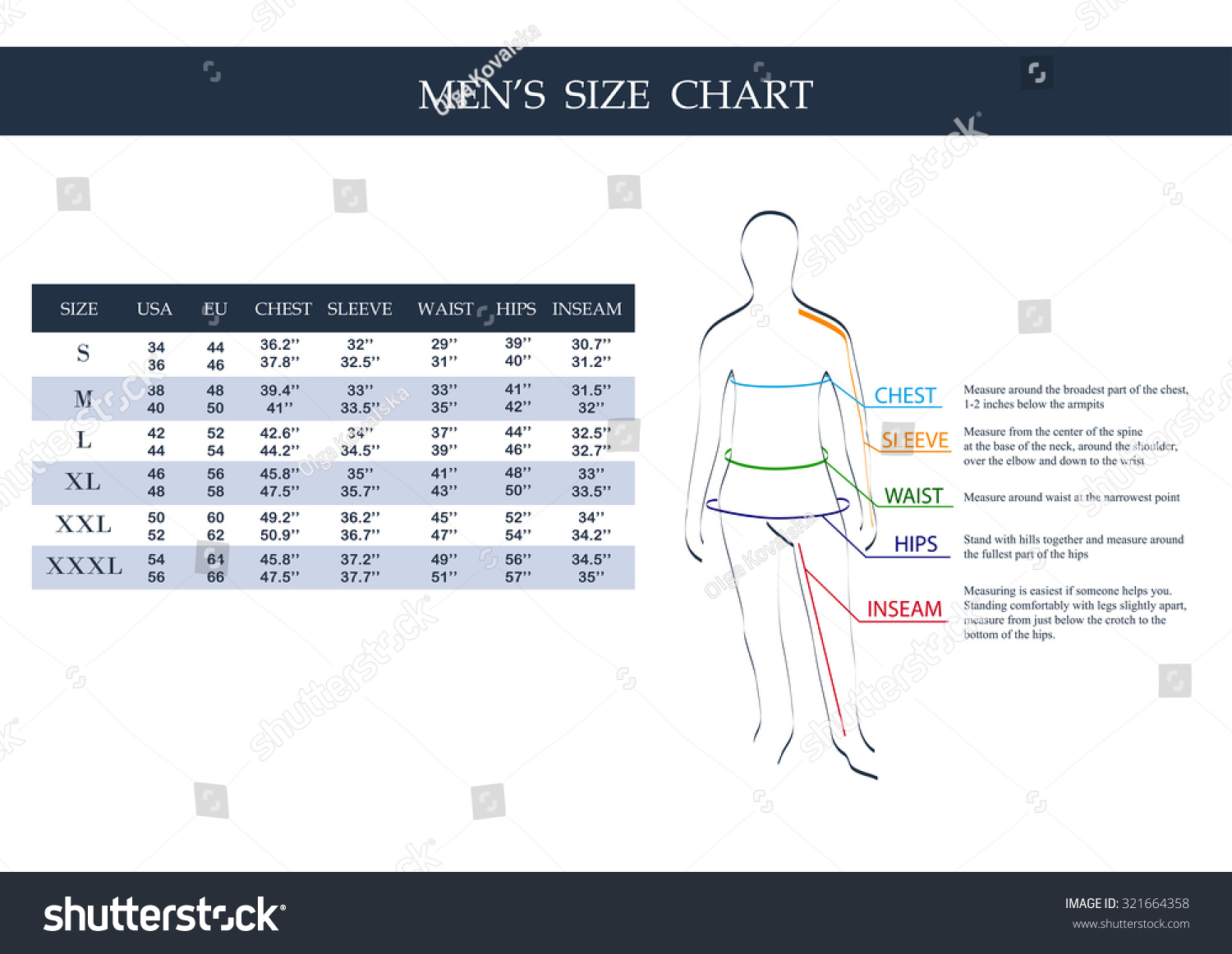 The size charts aren't formulated for a masculine body and even some feminine bodies don't fit the size mold. Generally you will have to pick the largest size from the three measurements. Say, for example, you are 6′ tall with bust/waist/hip measurements of 42/32/38 respectively.