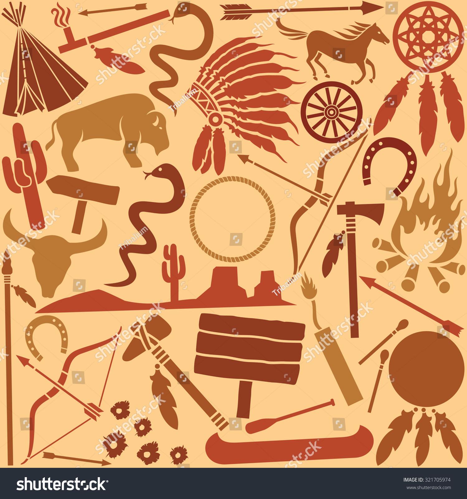 Native american indians icons seamless pattern stock vector native american indians icons seamless pattern biocorpaavc