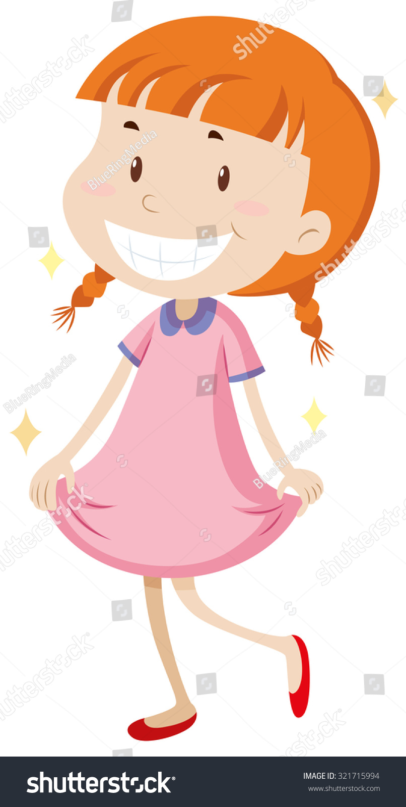 little girl wearing clean clothes illustration stock