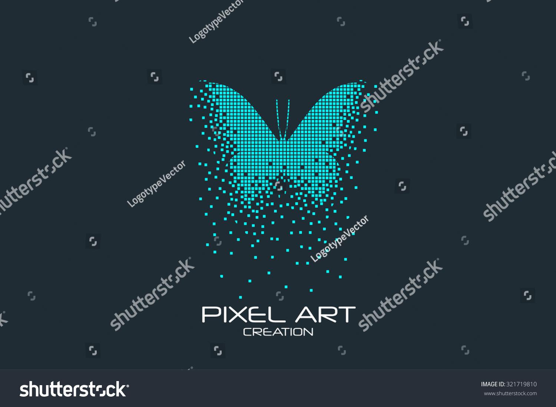 Pixel Art Design : Pixel art design of the butterfly logo stock vector