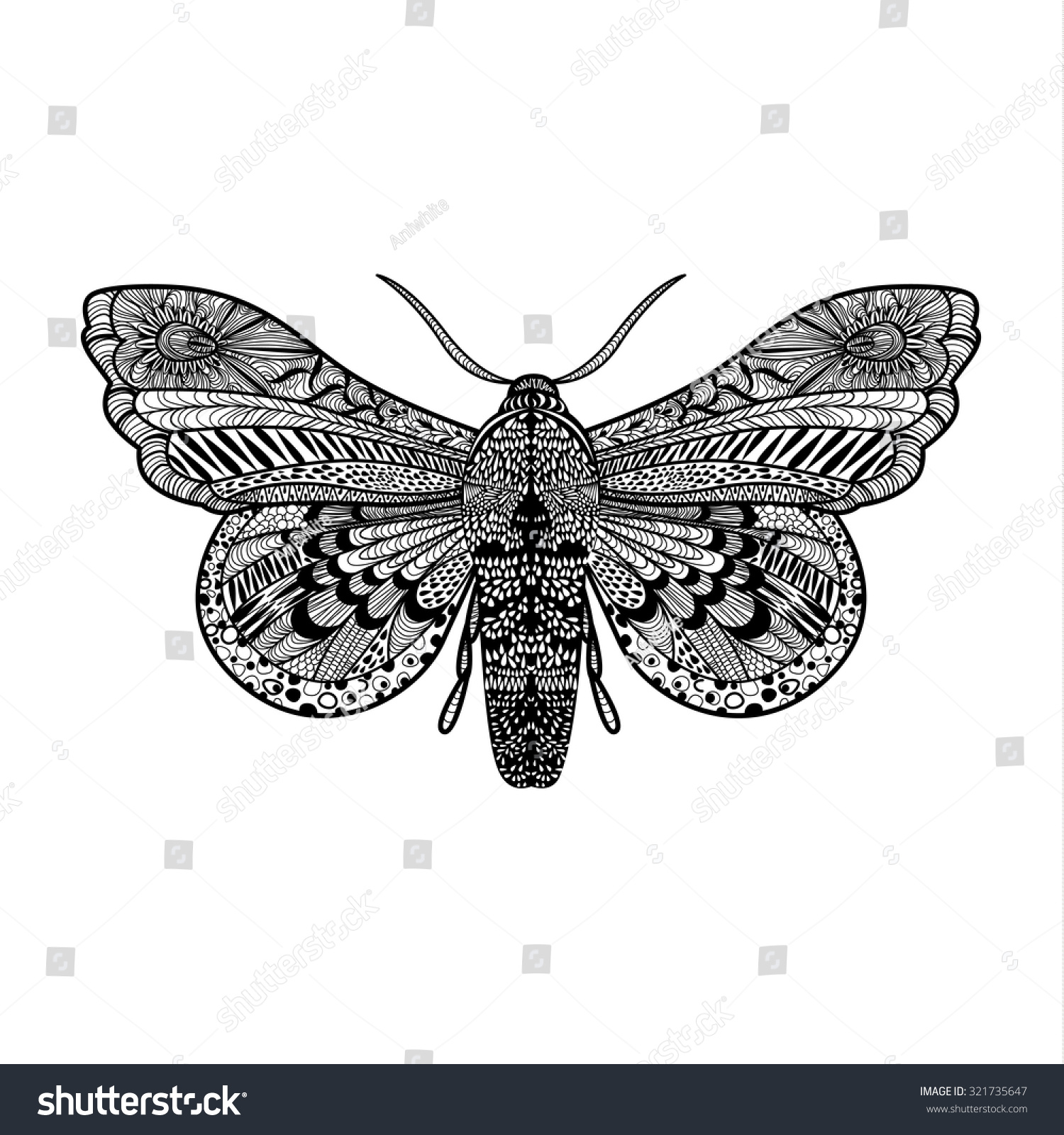 hand drawn magic butterfly anti stock vector 321735647