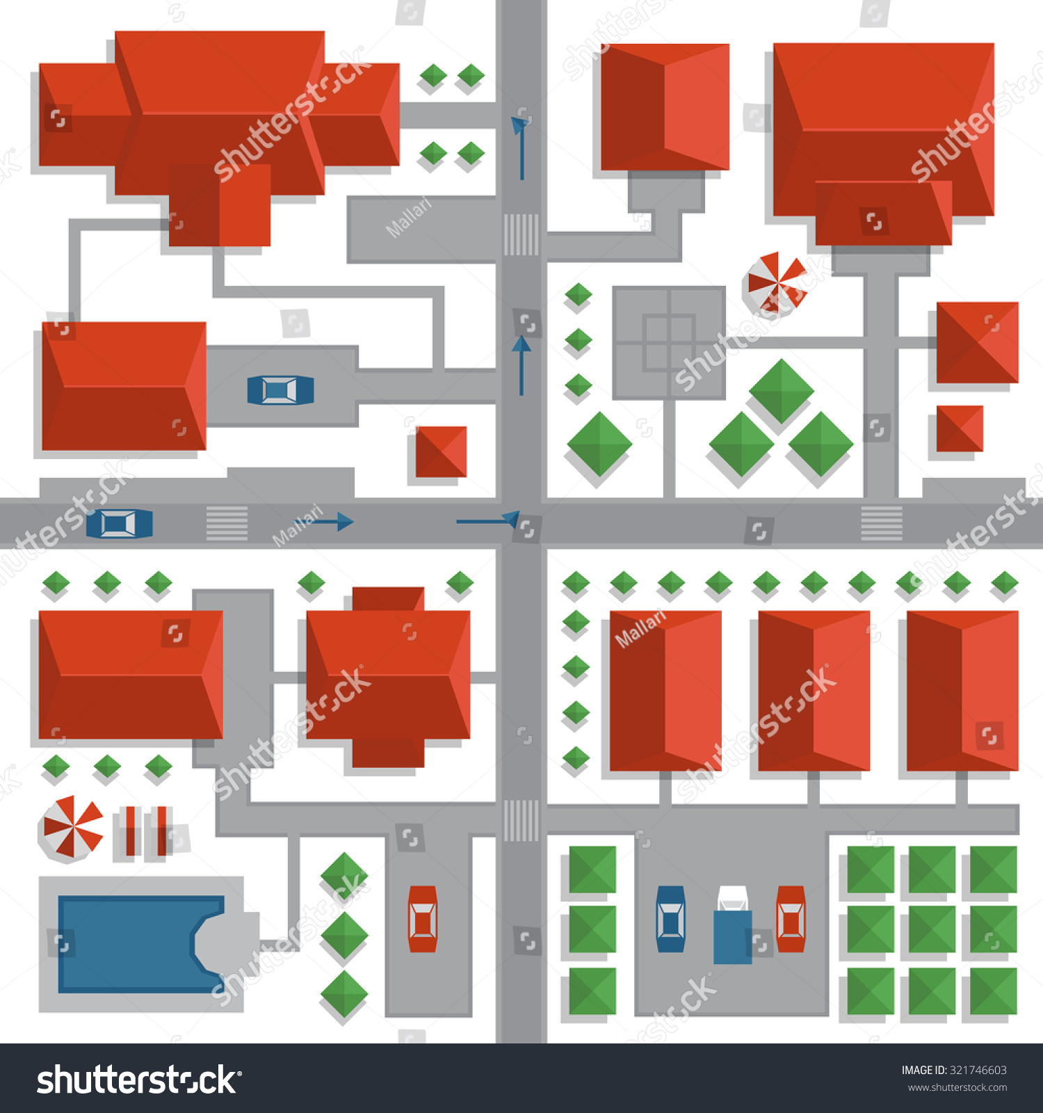 Top  View  Map City Streets Houses Stock Vector  321746603