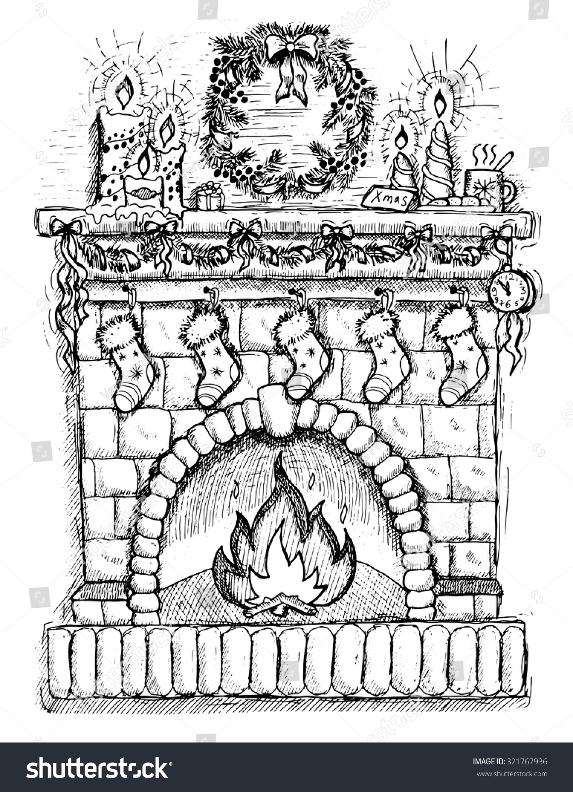 Illustration Fireplace Socks Christmas Decorations Hand