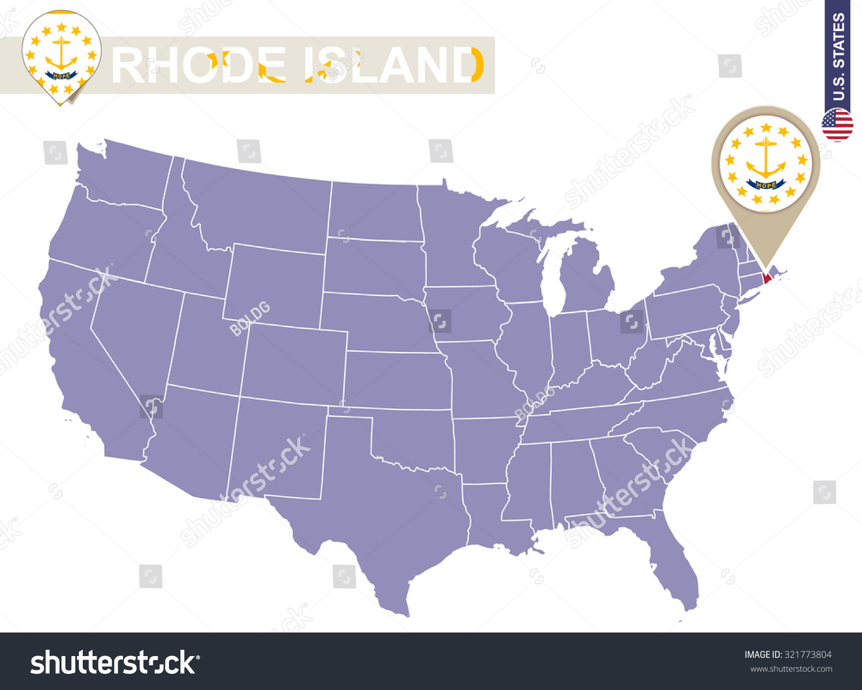 Rhode Island State On Usa Map Stock Vector Shutterstock - Rhode island on us map