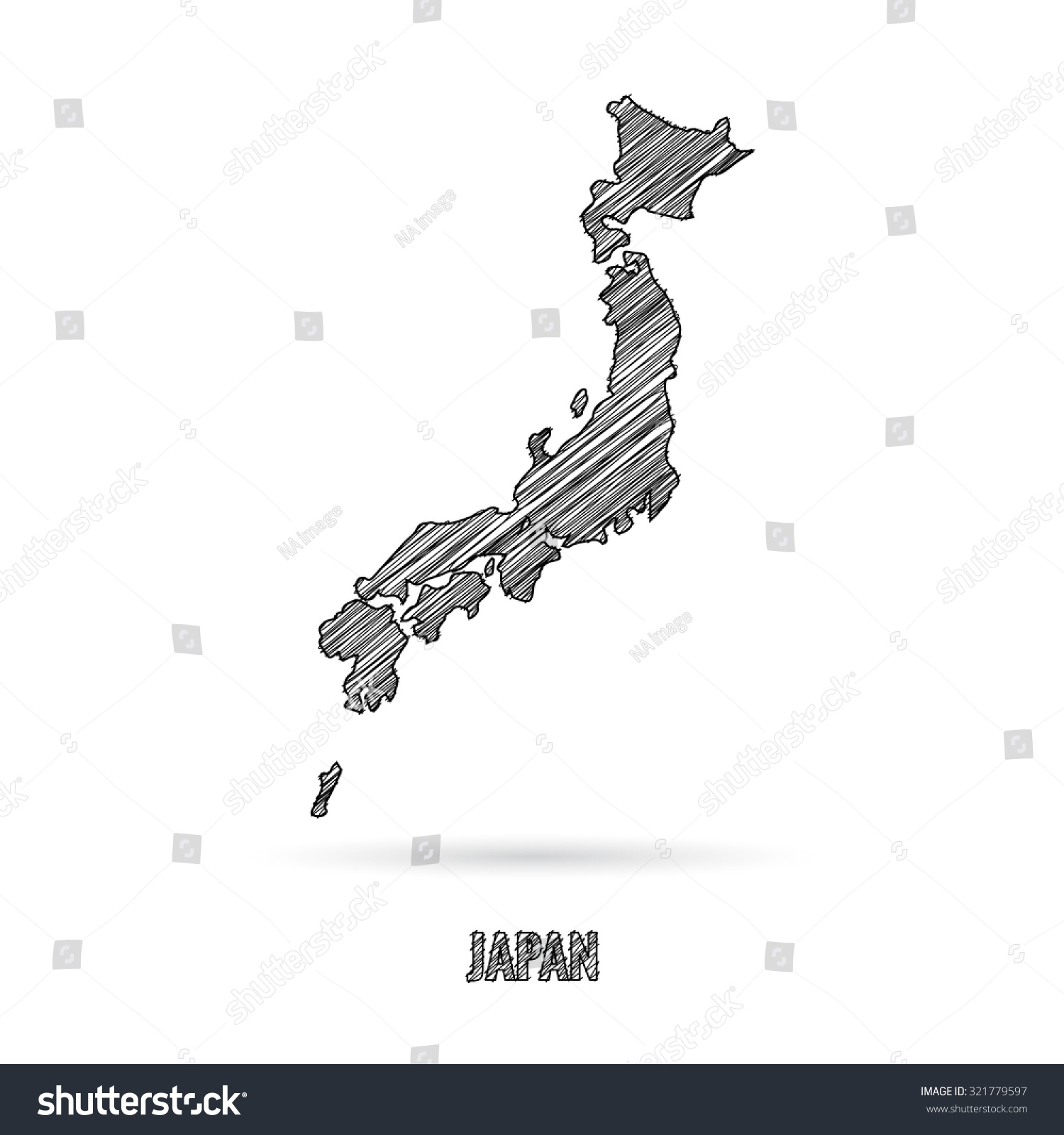 Japan Map Hand Draw Stock Vector Shutterstock - Japan map drawing