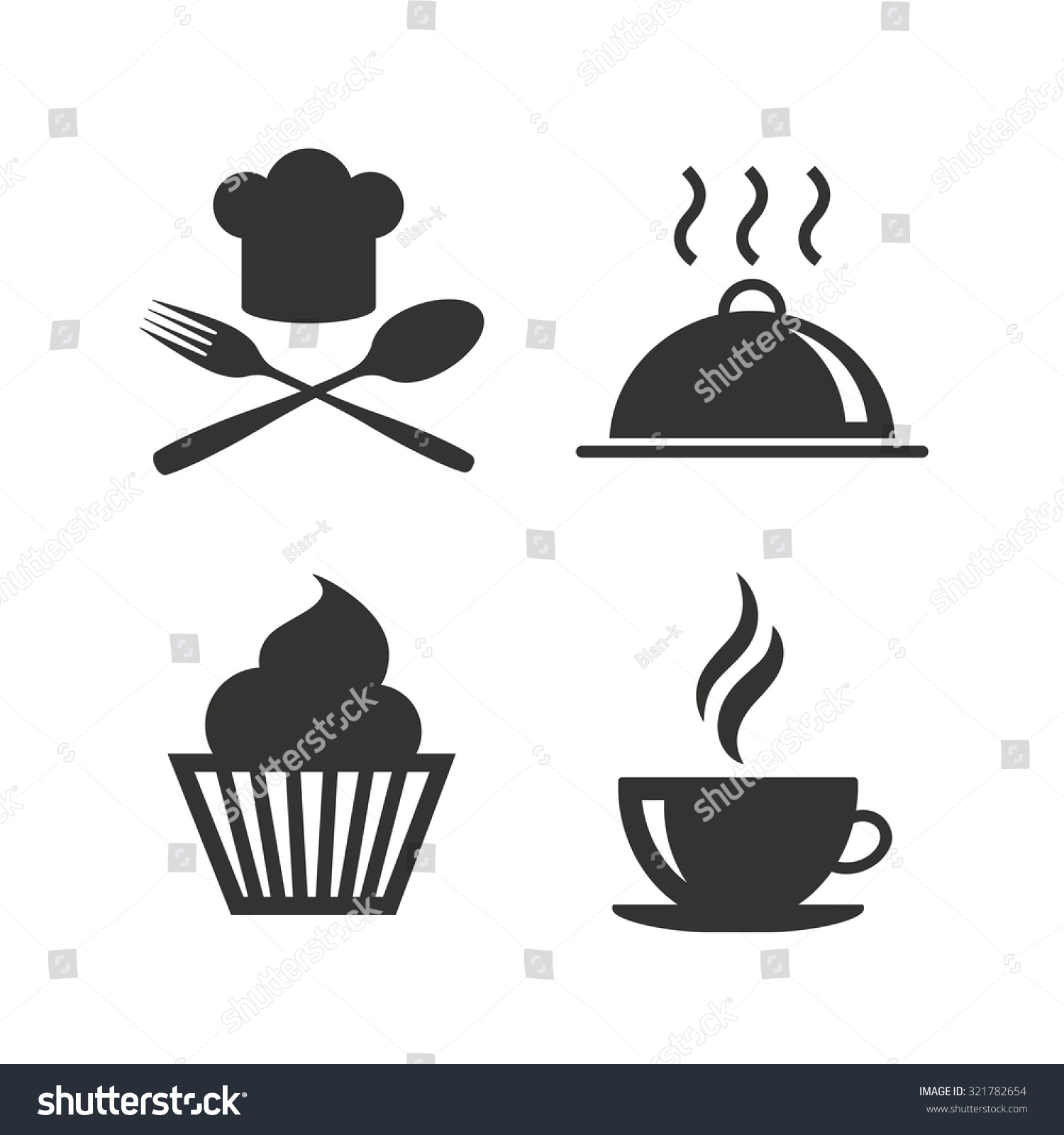 symbol chef vector drink hat cup icons muffin cupcake fork spoon coffee serving shutterstock platter flat