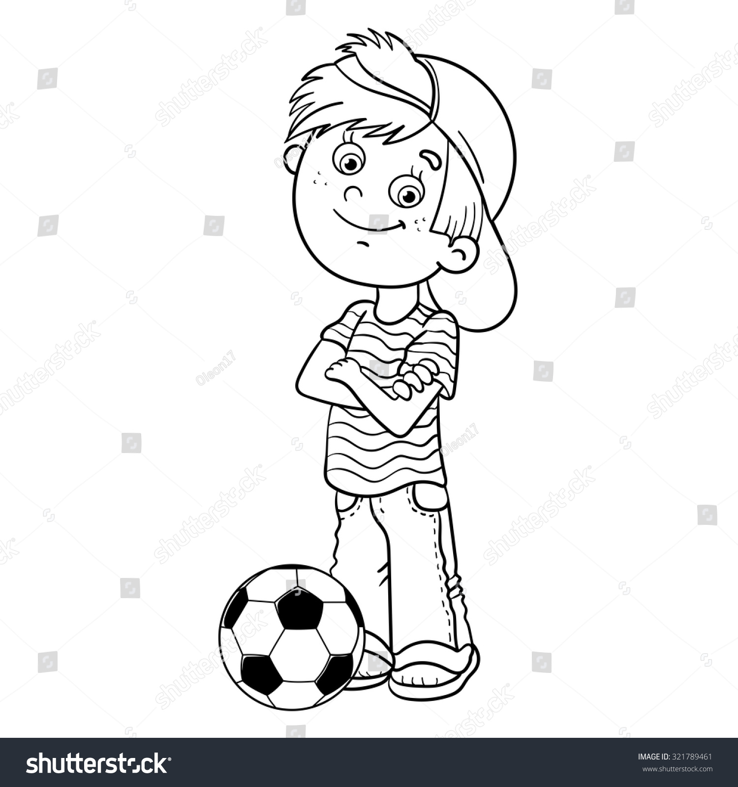 coloring page outline cartoon boy soccer stock vector 321789461