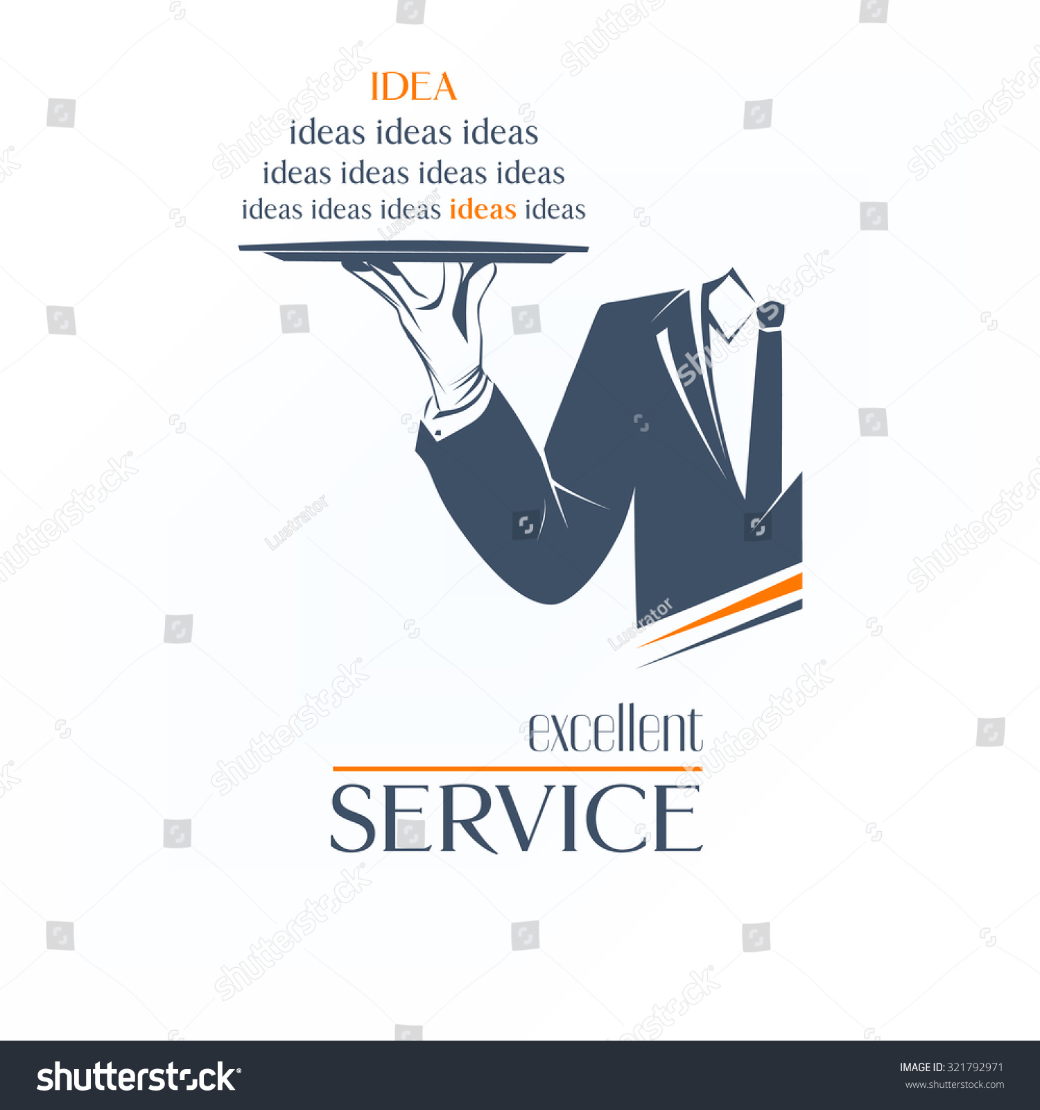 simple vector illustration logo isolated waiter is holding a tray over white background