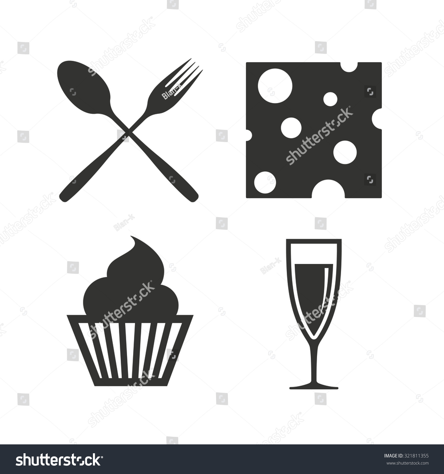 Food Icons Muffin Cupcake Symbol Fork Stock Vector Royalty Free