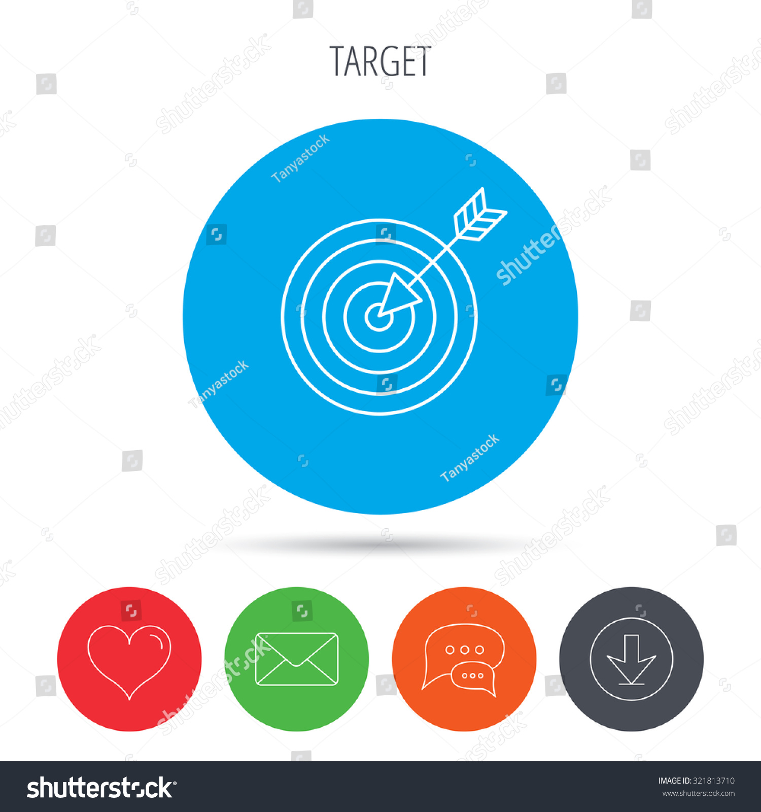 Target with arrow icon. Dart aim sign. Mail, download and speech.