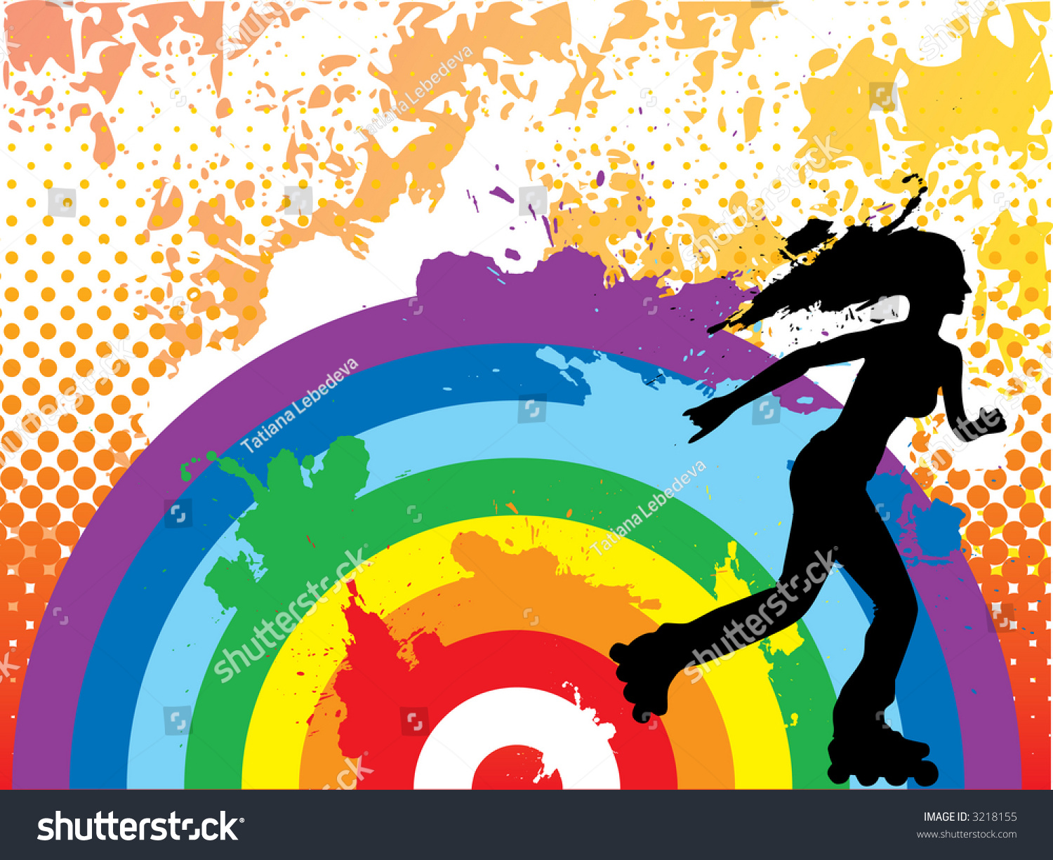 Rollerblading Over Rainbow Grunge Halftone Background Stock Vector ...