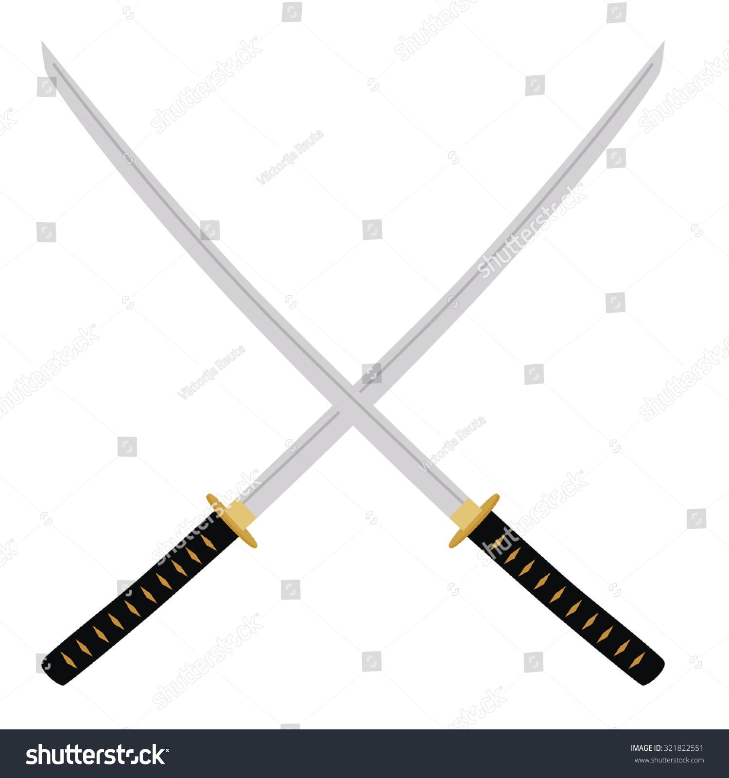 Two Crossed Katana Swords Raster Illustration Stock ...